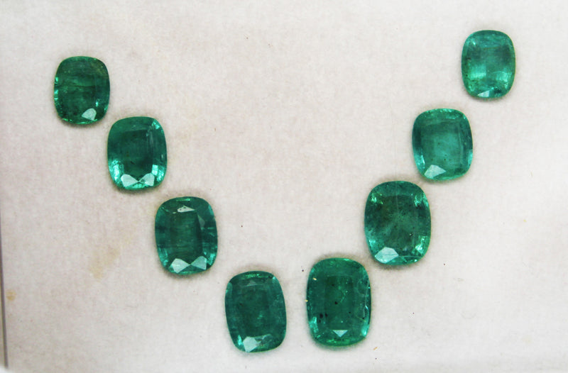 15.30 Ct / 8 Pcs Fine Natural Emerald Cushion Necklace Zambia UnTreated LooseGem Stone - R A R E G E M . I N