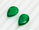 15.31 Ct / 2 P cs Fine Natural Emerald Pear Zambia UnTreated Loose GemStone