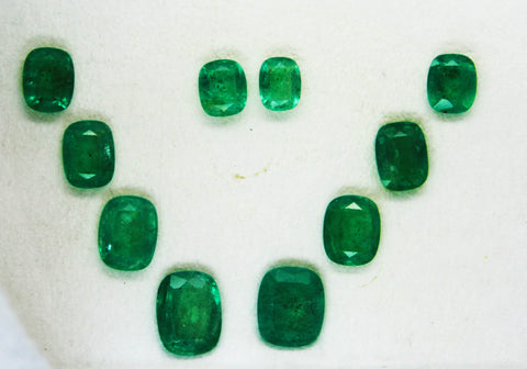16.00 Ct / 10 Pcs Fine Natural Emerald Cushion Necklace Zambia UN Treated LooseGem Stone