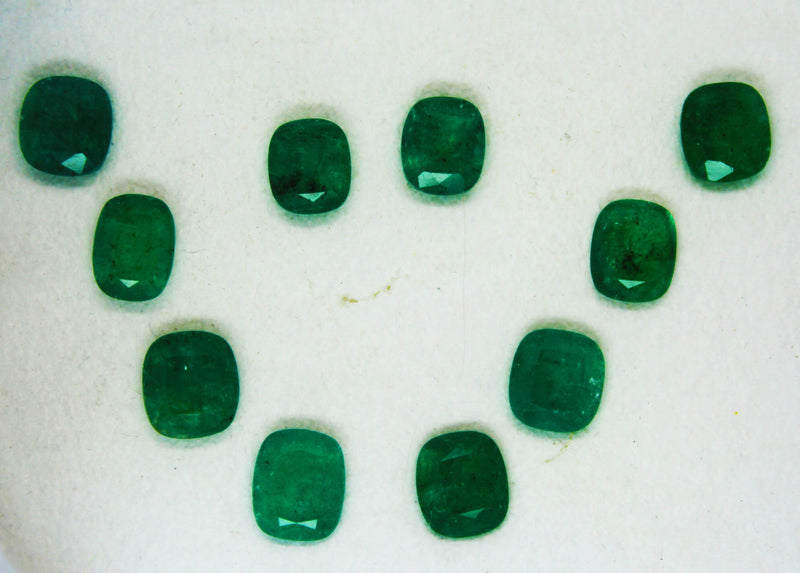 16.56 Ct / 10 Pcs Fine Natural Emerald Cushion Necklace Zambia UN Treated LooseGem Stone - R A R E G E M . I N