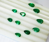 16.92 Ct / 10 Pcs Fine Natural Emerald Pear Necklace Zambia UnTreated LooseGemStone