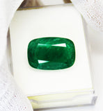16.99 Ct  Fine Natural Emerald Cushion  Zambia UN Treated LooseGem Stone