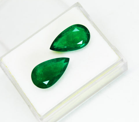 17.74 Ct / 2Pcs Fine Natural Emerald Pear pair Zambia UnTreated Loose GemStone