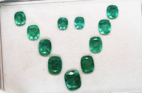 18.61 Ct / 11 Pcs Fine Natural Emerald Cushion Necklace Zambia UnTreated Loose GemStone