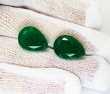 18.73 Ct / 2 Pcs Fine Natural Emerald Pear Pair UnTreated Loose GemStone