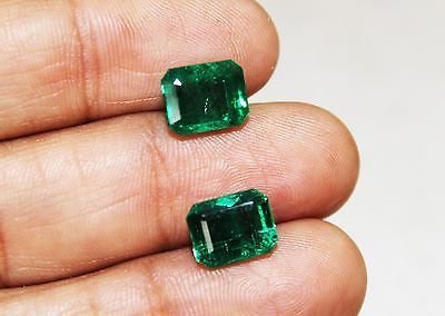 8.24 Ct Fine Natural Emerald Octagon Pair UnTreated Loose Gemstone - RareGem.IN
