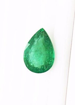 12.95 Ct Fine Natural Emerald Pear  UnTreated Loose GemStone - R A R E G E M . I N