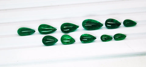 38.11 Ct / 11 Pcs Fine Natural Emerald Pear Zambia UnTreated Loose GemStone