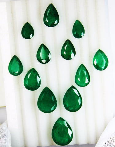 67.20 Ct / 12 Pcs Fine Natural Emerald Pear Necklace Zambia UnTreated LooseGemStone