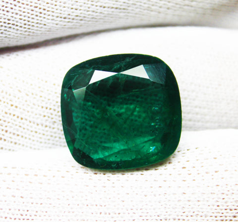 20.11 Ct  Fine Natural Emerald Cushion Zambia UnTreated Loose Gemstone