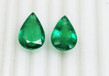 20.11 Ct / 2 P cs Fine Natural Emerald Pear Zambia UnTreated Loose GemStone