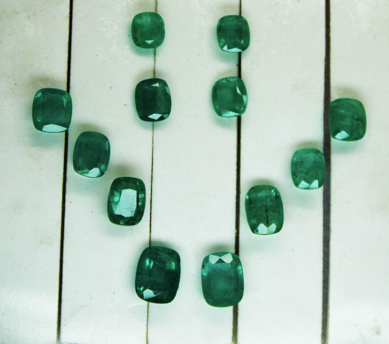 20.22 Ct / 12 Pcs Fine Natural Emerald Cushion Necklace Zambia UN Treated LooseGem Stone - R A R E G E M . I N
