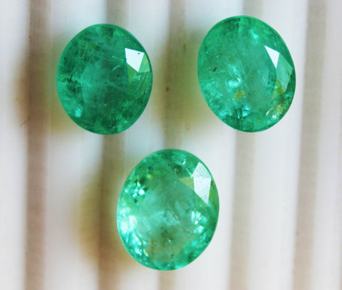20.76 Ct / 3 P cs Fine Natural Emerald Oval Russian UN Treated LooseGem Stone