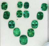 21.54 Ct / 13 Pcs Fine Natural Emerald Cushion Necklace Zambia UnTreated LooseGem Stone