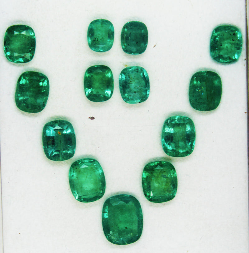 21.54 Ct / 13 Pcs Fine Natural Emerald Cushion Necklace Zambia UnTreated LooseGem Stone - R A R E G E M . I N