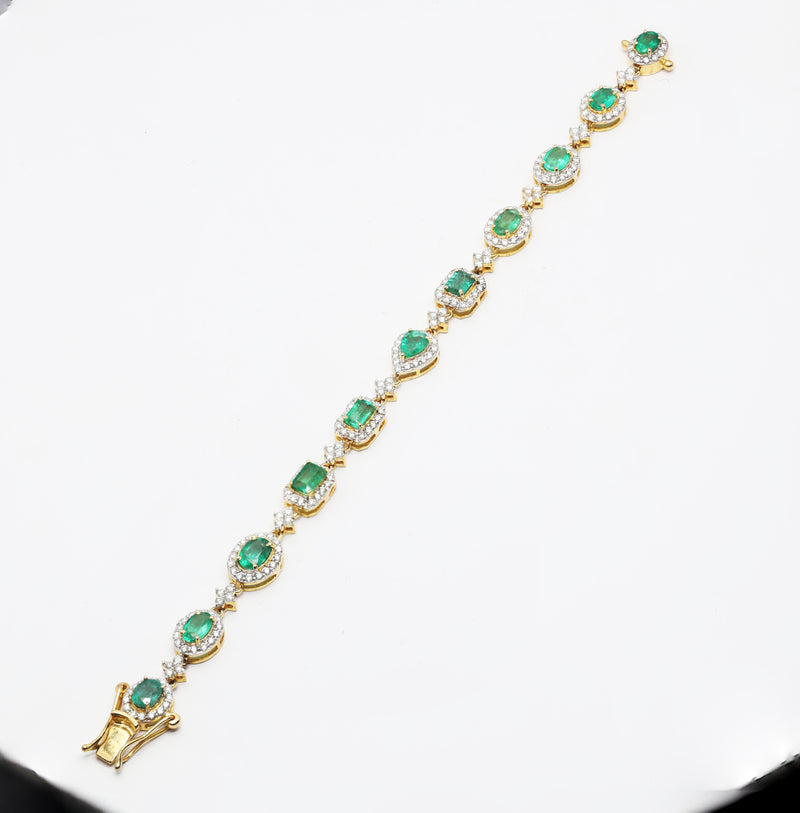 Beautiful Fine Emerald Diamond 6 Ct TW Bracelet 14K