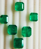 25.51 Ct / 6 Pcs Fine Natural Emerald Square Octagon Necklace Colombia LooseGem Stone