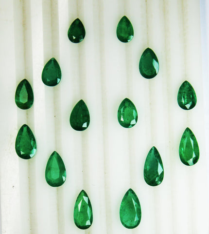 25.80 Ct / 14 Pcs Fine Natural Emerald Pear Necklace Zambia UnTreated LooseGemStone