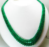 269 Cts / 2 Lines Fine Natural Colombian Emerald Beads Necklace