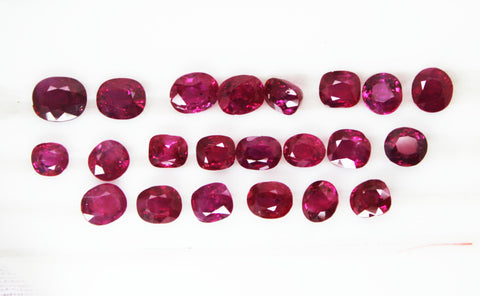 26.65 Cts / 22 Pcs RARE COLLECTION of Fine UnHeated UnTreated Burma Ruby