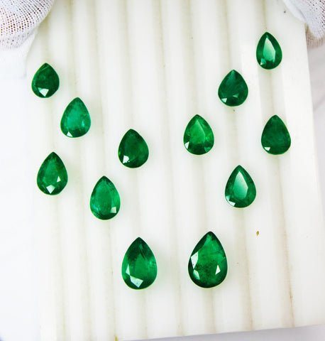 27.16 Ct / 12 Pcs Fine Natural Emerald Pear Necklace Zambia UnTreated LooseGemStone