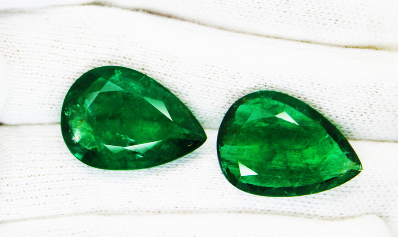 27.30 Ct / 2Pcs Fine Natural Emerald Pear pair Zambia UnTreated Loose GemStone - R A R E G E M . I N