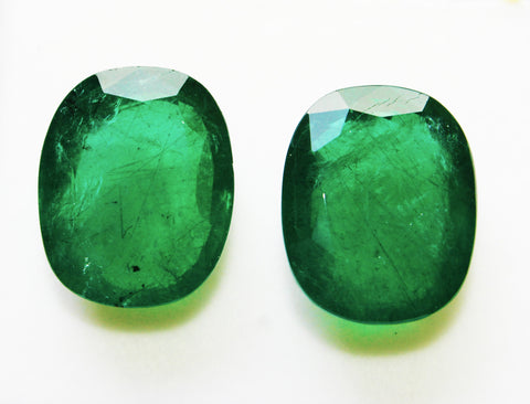 33.64 Ct / 2 Pcs Fine Natural Emerald Cushion Zambia UnTreated Loose GemStone - RareGem.IN