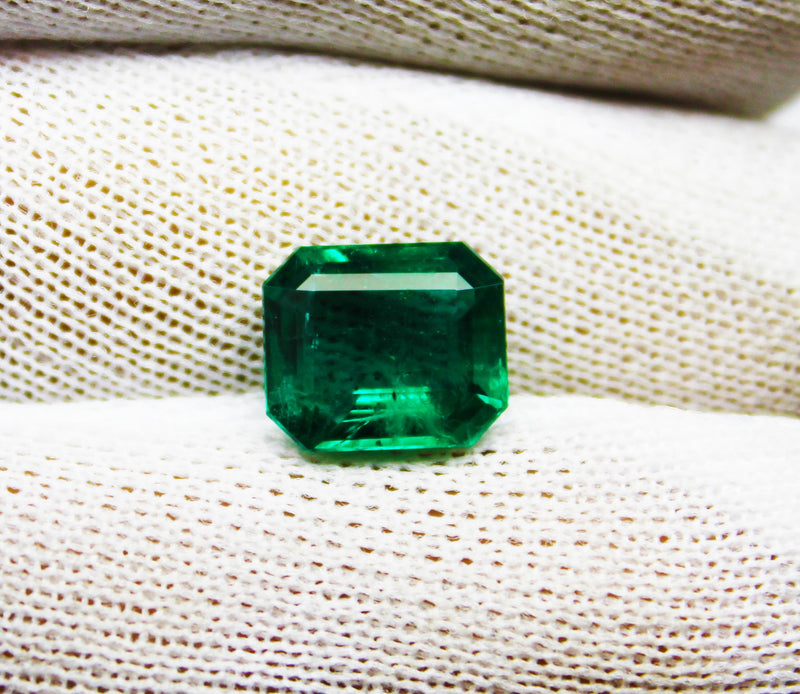 3.53 Ct Fine Natural Emerald  Octagon Zambia UnTreated LooseGem Stone - R A R E G E M . I N