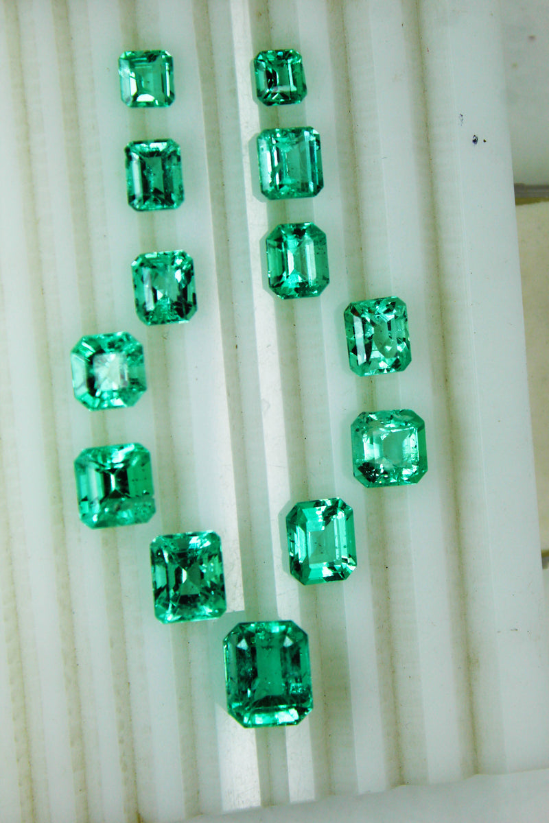 35.3 Ct / 13 Pcs Fine Natural Emerald Octagon Necklace Colombia LooseGem Stone - R A R E G E M . I N