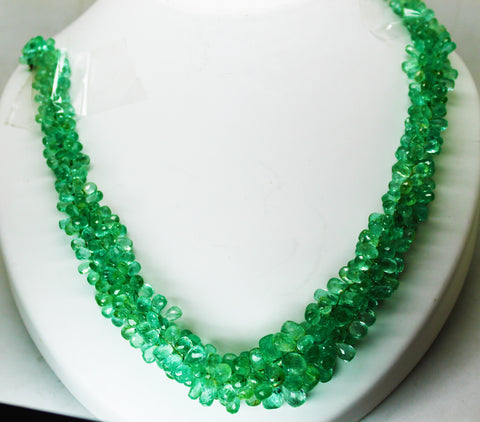 356 Ct Fine Natural Emerald Drops Necklace Colombia  LooseGemStone