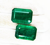 38.18 Ct / 2 Pcs Fine Natural Emerald Octagon Zambia UnTreated Loose GemStone