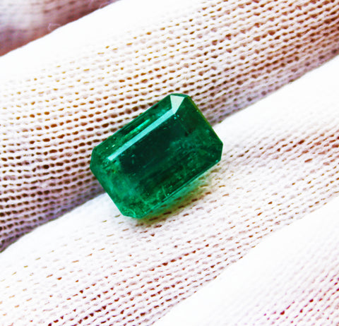 3.98 Ct Fine Natural Emerald Octagon Zambia UnTreated LooseGem Stone
