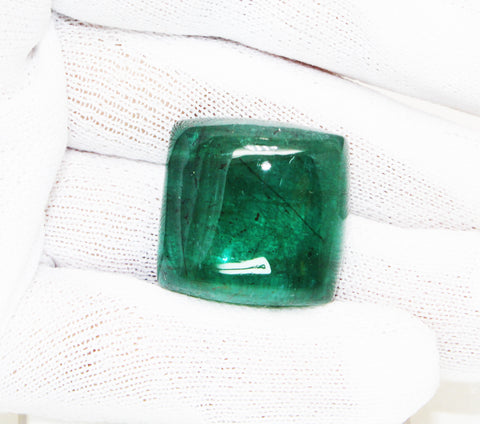 56.58 Ct Fine Natural Emerald Fancy Cabachon Zambia UN Treated Loose GemStone
