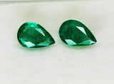 5.77 Ct / 2 P cs Fine Natural Emerald Pear Zambia UnTreated Loose GemStone