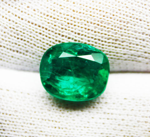 6.17 Ct  Fine Natural Emerald Cushion Zambia UN Treated LooseGem Stone