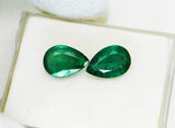 7.00 Ct / 2 P cs Fine Natural Emerald Pear Zambia UnTreated Loose GemStone