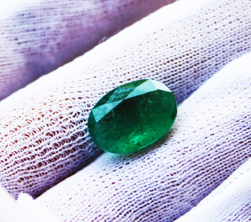 7.03 Fine Natural Emerald Oval Zambia UnTreated Loose GemStone - R A R E G E M . I N
