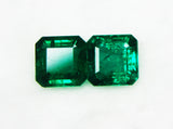 7.47 Ct / 2 Pcs Fine Natural Emerald Octagon Zambia UnTreated Loose Gemstone