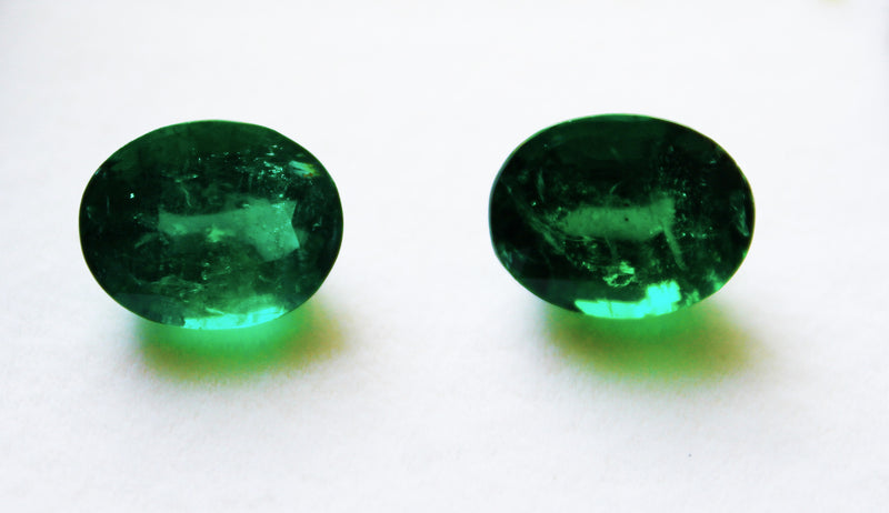 7.58 Ct / 2 Pcs Fine Natural Emerald Oval Zambia UnTreated Loose GemStone - R A R E G E M . I N