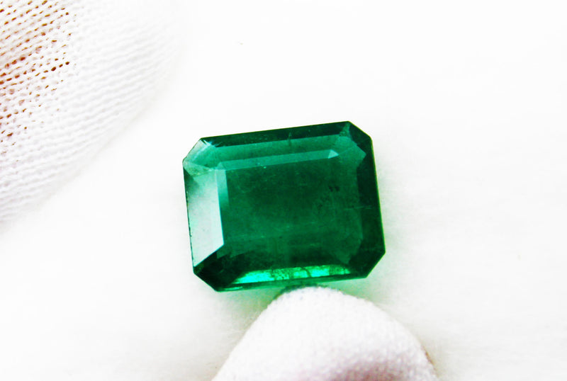 7.74 Ct Fine Natural Emerald Square Octagon  Zambia UnTreated LooseGem Stone - R A R E G E M . I N