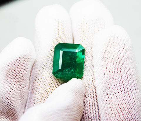 8.36 Ct Fine Natural Emerald Square Octagon Zambia UnTreated LooseGem Stone