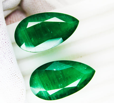 83.75 Ct / 2 Pcs Fine Natural Emerald Pear pair Zambia UnTreated Loose GemStone