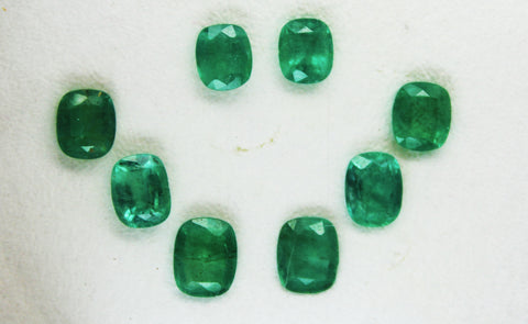 9.10 Ct / 8 Pcs Fine Natural Emerald Cushion Necklace Zambia UnTreated Loose GemStone