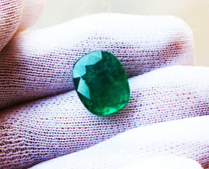 9.79 Ct Fine Natural Emerald Cushion Zambia UnTreated LooseGem Stone - R A R E G E M . I N