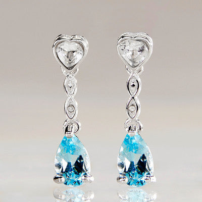 Blue Topaz Platinum over 925 Sterling Silver Earrings RMJ035-3