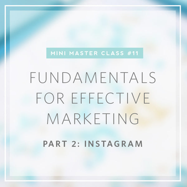 11/2016 Mini Masterclass | Fundamentals for Effective Marketing- Part 2: INSTAGRAM