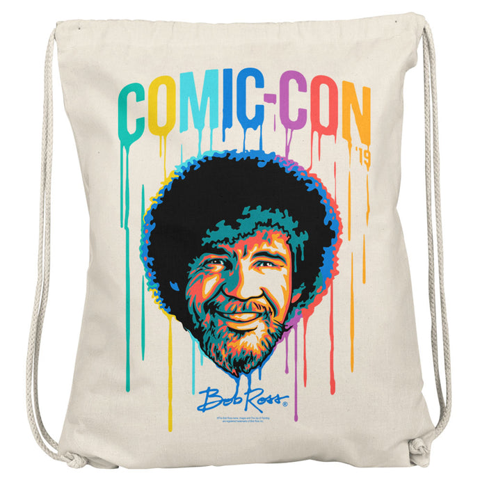 Bob Ross Paint Drip Comic Con 2019 Drawstring Bag
