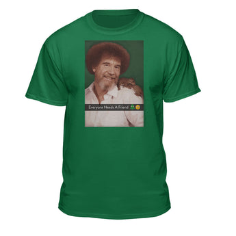 Bob Ross Everyone Needs A Friend Photo Graphic T-shirt