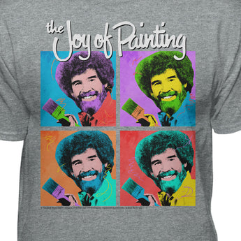 Bob Ross Joy of Painting Colorful Faces Official T-shirt