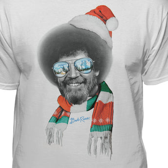 Bob Ross Santa Hat & Scarf Official Licensed Christmas T-Shirt